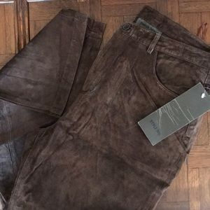REDUCED NWT fully lined suede leather pants